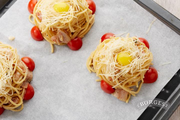 Спагетти карбонара запеченные